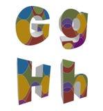 alfabetos cobardes retros 3D Fotos de archivo libres de regalías