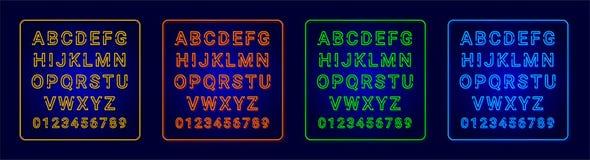 Alfabetos de néon ilustração royalty free