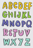 Alfabetos dibujados mano colorida de la historieta fijados Imagenes de archivo