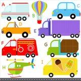 Alfabetos do A-Z: Carro/veículos/transporte ilustração stock