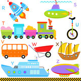 Alfabetos do A-Z: Carro/veículos/transporte ilustração royalty free