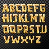 Alfabetos dourados no fundo transparente Imagem de Stock