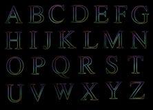 Alfabetos mayúsculos de neón Ilustración del Vector