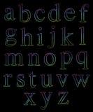 Alfabetos minúsculos de neón Stock de ilustración