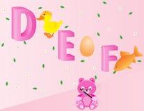 Alfabetos para los niños DEF Imagen de archivo libre de regalías