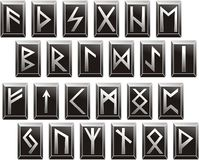 Alfabetos rúnicos medievales del vector de idiomas germánicas Foto de archivo
