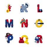 Alfabetoverzees van J aan R Royalty-vrije Stock Foto's