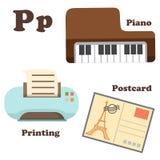 Alfabetp brief Piano, Prentbriefkaar, Druk vector illustratie