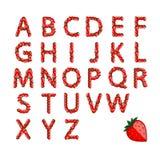 Alfabetreeks van aardbei voor uw ontwerp wordt gemaakt dat Royalty-vrije Stock Fotografie