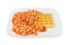 Alfabetspaghetti en wafel Royalty-vrije Stock Foto