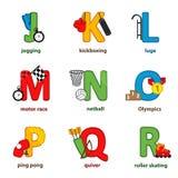 Alfabetsport från J till R Royaltyfri Fotografi