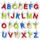 alfabetstilsorten egeer paperclipetiketter Arkivfoto