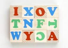 alfabettegelstensats Arkivbilder