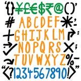Alfabetten, aantallen en specifieke karakters - hand geschreven vector Royalty-vrije Stock Fotografie