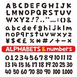 Alfabetten en aantallen, doopvonten vector illustratie