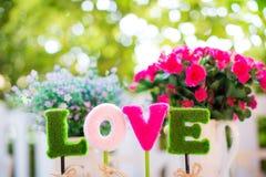 Alfabetten l, o, v, e de woordliefde voor decoratie tekens van valentijnskaartdag en zoete wittebroodsweken royalty-vrije stock foto