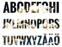 Alfabetuppsättning med skandinaviska bokstäver Royaltyfri Bild