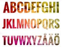 Alfabetuppsättning med skandinaviska bokstäver Royaltyfria Bilder