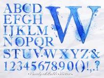 Alfabetvattenfärgblått vektor illustrationer