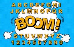 Alfabetvektorkomiker vektor illustrationer