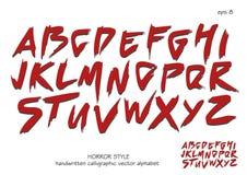 Alfabetvektoruppsättning av röda huvudhandskrivna bokstäver på vit bakgrund Royaltyfria Foton