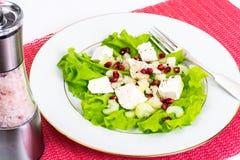 Alface, aipo, feta, sementes da romã em um branco Foto de Stock