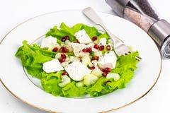 Alface, aipo, feta, sementes da romã em um branco Fotografia de Stock
