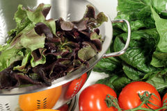Alface, tomates e Colander Imagem de Stock
