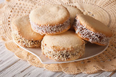 Alfajores freshly baked cookies closeup. horizontal Royalty Free Stock Photos