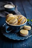 Alfajore cookies filled with caramelized milk and coconut royalty free stock photography