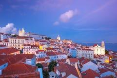 Alfama на ноче, Лиссабоне, Португалии Стоковое фото RF