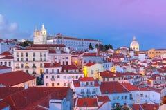 Alfama на ноче, Лиссабоне, Португалии Стоковая Фотография RF