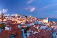 Alfama на ноче, Лиссабоне, Португалии Стоковые Фото