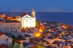 Alfama на ноче, Лиссабоне, Португалии Стоковое Изображение