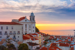 Alfama at cloudy sunrise, Lisbon, Portugal Stock Photo