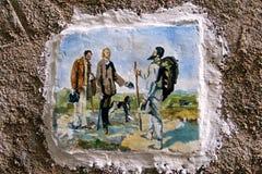 Alfama det äldsta området av Lissabon som målar på väggen Arkivfoto