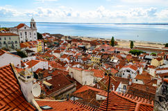 Alfama district of lisbon in portugal. Skyline of alfama district in lisbon Stock Photography