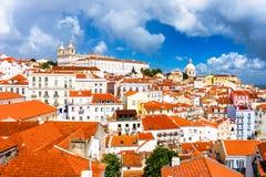 Alfama District of Lisbon. Lisbon, Portugal town skyline at the Alfama Stock Photography