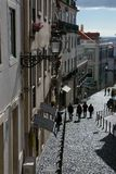 Alfama district street royalty free stock photography