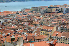 Alfama District and Tejo River, Lisbon Stock Images