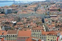 Alfama District and Tejo River, Lisbon, Portugal Stock Image