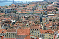 Alfama District and Tejo River, Lisbon, Portugal Stock Image