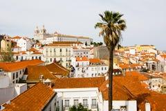 Alfama forntida Lisbon, gömma i handflatan Arkivfoton