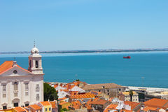 Alfama Lisbon. View of the Lisbon city and ocean in Portugal Stock Images
