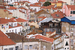 Alfama, Lisbon. Old colourful houses in down town Lisbon, Portugal Royalty Free Stock Images
