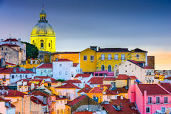 Alfama Lisbon. Lisbon, Portugal skyline at Alfama, the oldest district of the city with the National Pantheon Dome royalty free stock image