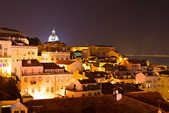 Alfama at night, Lisbon Stock Photo