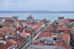 Alfama, the old quarter of Lisbon, Portugal. View of the historical part of Lisbon, Portugal Royalty Free Stock Photos