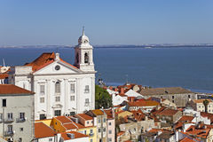 Alfama with Santo Estevao Church Stock Images
