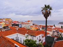 Alfama Skyline in Lisbon Stock Photo